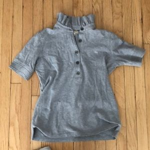 Burberry Tops - Burberry Grey Polo with ruffle collar